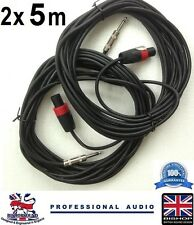 "Jack PA Speaker Cables 2 x 5m (PAIR) 1/4"" to 2 pole NL2FX plug Lead"