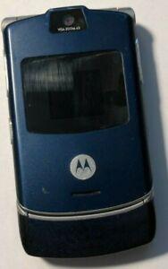 READ FIRST Motorola RAZR V3 Blue (UNLOCKED) T-Mobile Cell Phone Fair Good Used