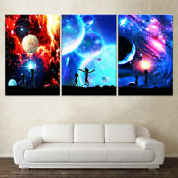 RICK AND MORTY 3 PANEL CANVAS WALL ART MODULAR DECORATIVE  BRAND NEW