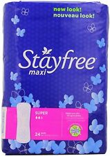 Women's Feminine Hygiene Stayfree Super Maxi Pads 24 Count Pack