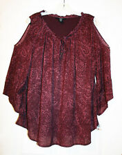 Style & Co. 3X Plus Burgundy Paisley Print Knit Peasant Top Cold Shoulder NWT