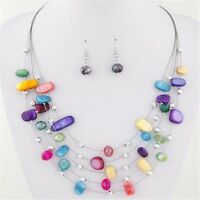 Color Women Wedding Necklace Earrings Set Jewelry Sets Crystal Multi Layer