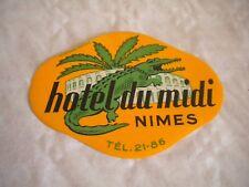 Vintage Luggage label Hotel Du Midi Nimes 1950s