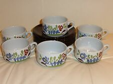 French Pottery Dutertre Desvres Cups and Saucers - Set of 6