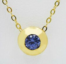 AAA TANZANITE 0.44 Cts SLIDE PENDANT 10k YELLOW GOLD * New With Tag *