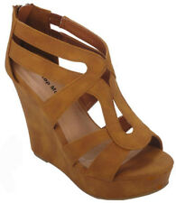 SIZE 8 TAN HIGH HEEL GLADIATOR WEDGE SUMMER SANDAL WOMAN PLATFORM OPEN TOE S