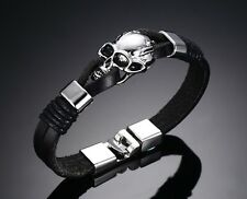 Mens Stainless Steel Skull Bangle Multilayer Black Leather Bracelet +Box B199