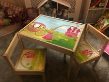 IKEA LATT Children's Table With 3 Chairs Personalised Princess Fairytale Pink