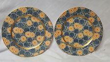 Vintage Pair of K. T. & K S.____V Floral Plates w/ Warrented 18Kt Gold Trim