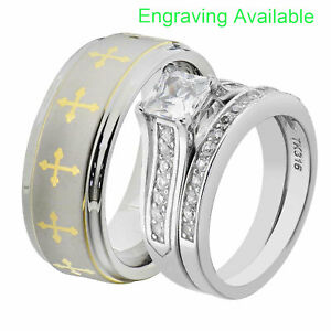 His & Hers Wedding Rings Sets Stainless Steel Princess CZ Tungsten Men Band GZ