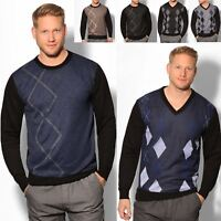 Mens Crew V Neck Knitted Jumper Argyle Print Sweater Long Sleeve Pullover Top