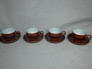Denby Pottery Homestead Brown Cups and Saucers x4 Vintage Blue Tableware