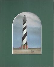 Obx Cape Hatteras Lighthouse Nc Matted Hand Colorized Drawing Marion Hall Artist