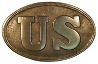 Antique Style Military Civil War US UNION Belt Buckle Oval SOLID Brass