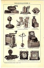 ca 1890 OLD ELECTRIC TELEGRAPH INSTRUMENTS Antique Engraving Print