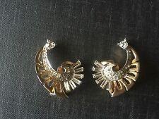 Vintage Marcel Boucher Book  Piece Phrygian Cap Rhinestone Comma earrings