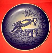 Copenhagen Blue Porcelain Plate, Mothers Day 1980, Birds Excellent Condition