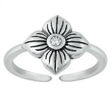 Flower Toe Ring Genuine Sterling Silver 925 Oxidized Jewelry Face Height 10 mm