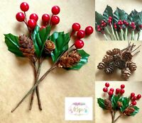 Holly Leaves Berries & Pine Cone Stems Christmas Craft Cards Wreath Making Cakes
