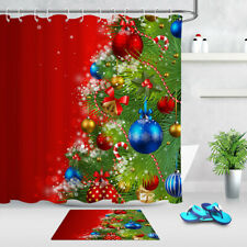 Red Background Christmas Tree Baubles Fabric Shower Curtain Set Bathroom Decor