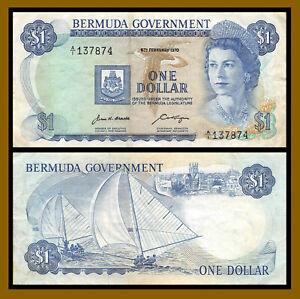 Bermuda 1 Dollar, 1970 P-23 First Prefix A/1 Queen Elizabeth II Circulated (Cir)