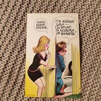 """Bamforth Comic Risqué Postcard #875 - """"I'll be out in a couple of shakes"""""""