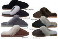 Ladies Sheepskin Slippers Suede  Genuine Mule Boots   all sizes 5 6 7 8