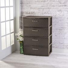Drawer Wide Weave Tower Storage Cabinet Box Organizer Dresser Chest Espresso