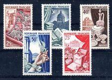 FRANCE 1954 TIMBRE N° 970 à 974 SERIE PRODUCTIONS DE LUXE METIERS D'ART ** LUXE