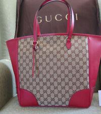 Gucci Handbag Monogram Red Leather Trim GG Canvas tote Bag