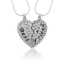 Crystal Jewelry Broken Heart Best Friend Friendship Pendant Couple Necklace