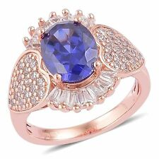 BLUE WHITE VS SIMULATED DIAMOND 14K ROSE GOLD OVER STERLING SILVER RING SIZE 5