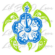 Custom Fits Yeti RTIC Ozarks Hibiscus Sea Turtle Vinyl Decal Tortoise Sticker