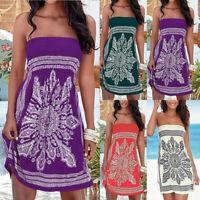 Strapless Beach Sundress Women's   Boobtube Boho Floral Bandeau Summer