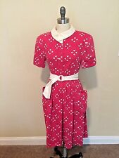 Vintage Dress 1980s Sexy Secretary Mod Retro Pink Cotton Shoulder pad Geometric