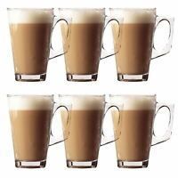 6 x 240ml Latte Glasses Tea Cappuccino Glass Tassimo Costa Coffee Cups Mugs