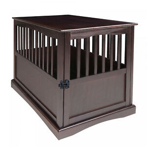 Dog Kennel Wood Bed Crate Pet Cage Wooden Furniture End Table Espresso 27.75 in.