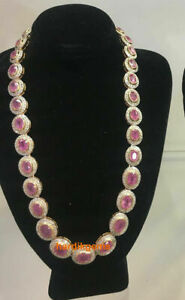 Fine Handmade Victorian Natural Rose Cut Diamond Ruby Victorian Necklace Jewelry