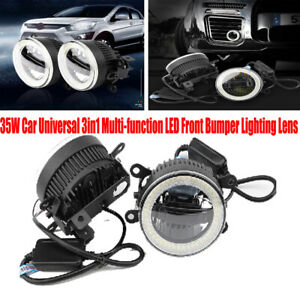 2PCS 35W Car Universal Daytime Light Fog Lamp 3in1 LED Front Bumper Lighting Len