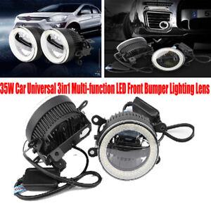2PCS 35W Car Universal Daytime Light Fog Lamp 3in1 LED Front Bumper Lighting Len