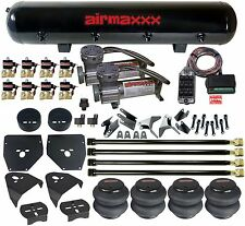 "C10 Suspension 4 Link Air Compressors AM400 Bags 1/2"" Valves Clear 9 Switch Box"