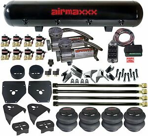"""Air Suspension 4 Link 400 Compressors Bags 1/2"""" Valves Clear 9 For 1973-87 C10"""