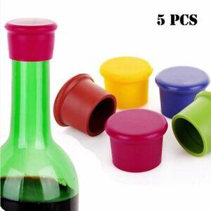 5Pcs Silicone Corks Cover Reusable Wine Beer Bottle Cap Stopper Home Bar Sealer