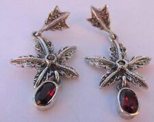 "Vintage 925 Sterling 1.5"" Garnet & Marcasite Leaf Flower Pierced Dangle Earrings"