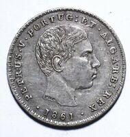 [Lot 1313] Coin, Portugues, 100 Reis, Pedro V, 1861, EF, Silver, KM#497
