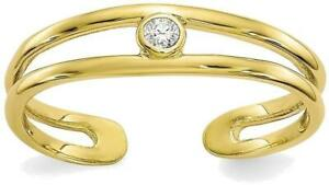 10K Yellow Gold Center Cutout Open Adjustable CZ Toe Ring