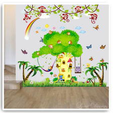 Monkey Wall Stickers Animal Jungle Owl Tree Zoo Nursery Baby Kids Room Decal Art