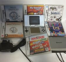 Nintendo DS Original Handheld System Silver With Charger & 6 Games, Bid Now