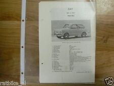 F18-FIAT 850 EN 850S 1964-1965 -TECHNICAL INFO VINTAGE CAR
