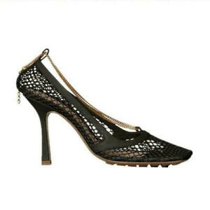Sexy Women's High Heels Chain Hollow Out Mesh Pumps Dress Party Shoes Square Toe